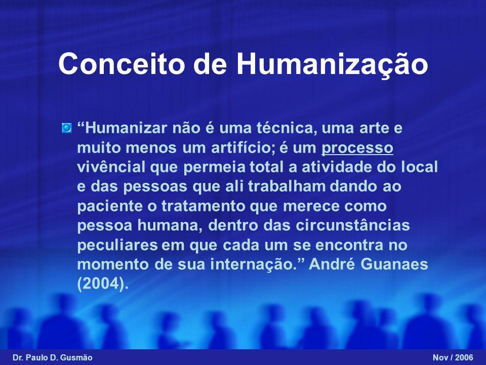 Conceito de Humanização Humanizar não é uma técnica, uma arte e muito menos um artifício; é um processo vivêncial que permeia total a atividade do loc