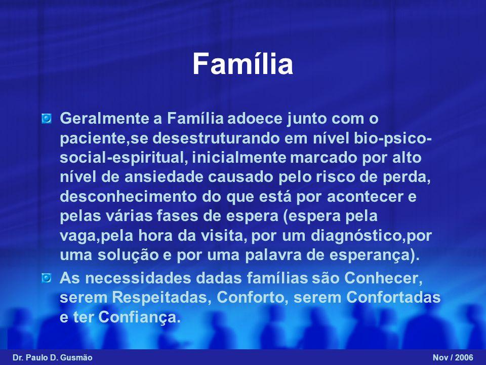 Família Geralmente a Família adoece junto com o paciente,se desestruturando em nível bio-psico- social-espiritual, inicialmente marcado por alto nível