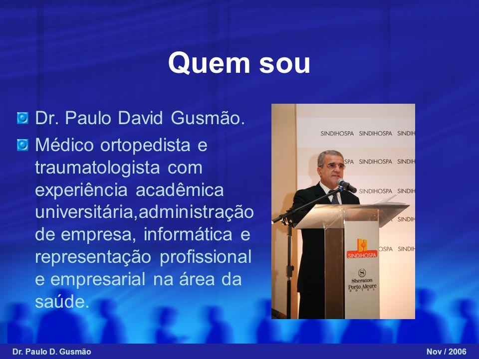 Dr. Paulo David Gusmão. Médico ortopedista e traumatologista com experiência acadêmica universitária,administração de empresa, informática e represent