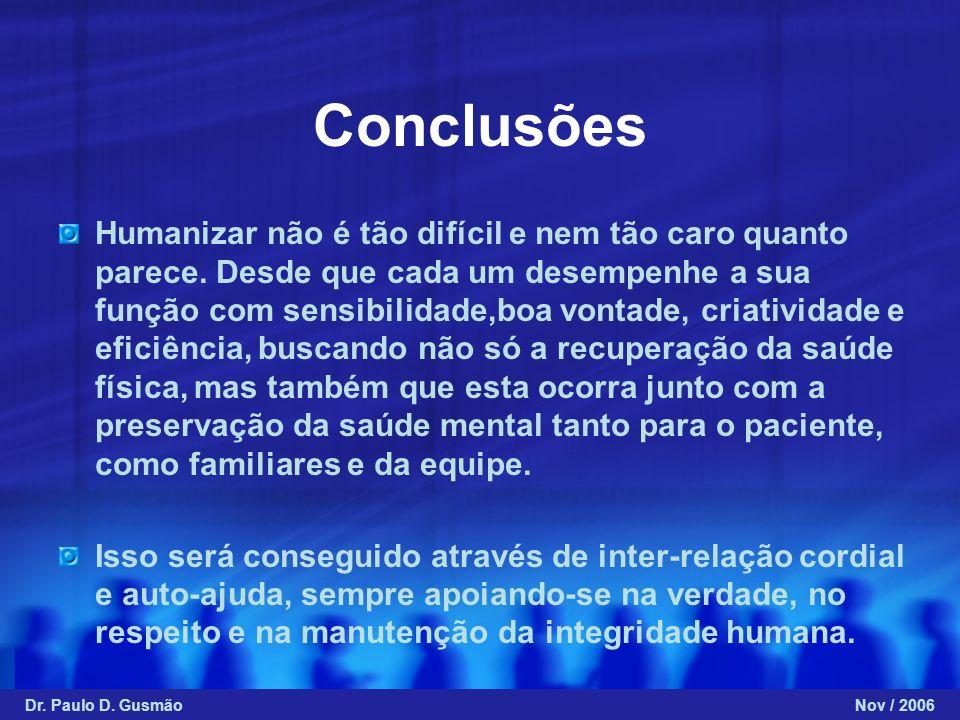 Conclusões Humanizar não é tão difícil e nem tão caro quanto parece. Desde que cada um desempenhe a sua função com sensibilidade,boa vontade, criativi