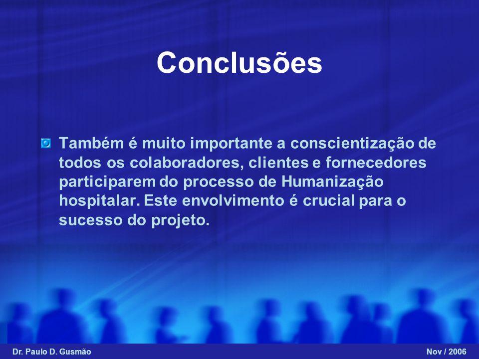 Conclusões Também é muito importante a conscientização de todos os colaboradores, clientes e fornecedores participarem do processo de Humanização hosp