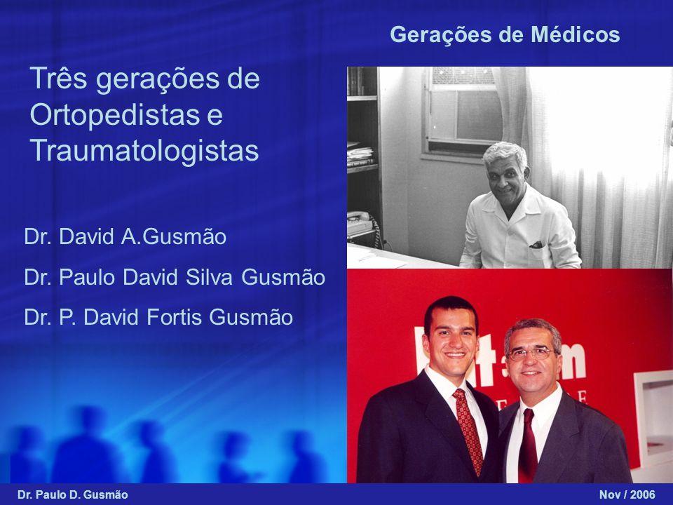 Gerações de Médicos Dr. David A.Gusmão Dr. Paulo David Silva Gusmão Dr. P. David Fortis Gusmão Três gerações de Ortopedistas e Traumatologistas Dr. Pa