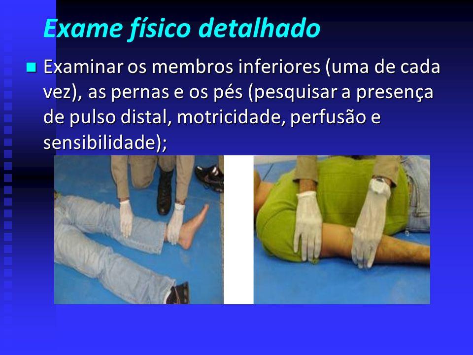 Exame físico detalhado Examinar os quatro quadrantes do abdome, procurando ferimentos, regiões dolorosas e enrijecidas; Examinar os quatro quadrantes