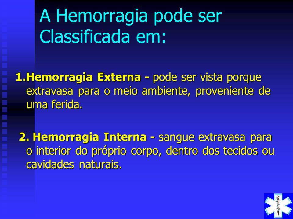 HEMORRAGIA - COMCEITO É o extravasamento de sangue provocado pelo rompimento de um vaso sanguíneo: artéria, veia ou capilar. Dependendo da gravidade p