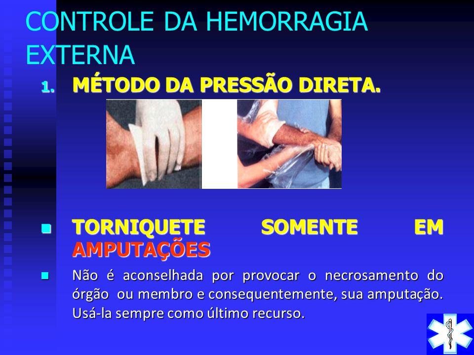 SINAIS E SINTOMAS DA HEMORRAGIA -pulso se torna fraco e rápido -pulso se torna fraco e rápido -pele fica fria e úmida (pegajosa) -pele fica fria e úmi