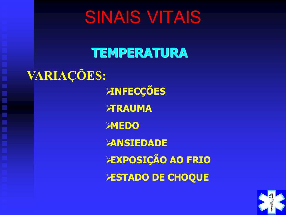 TEMPERATURA ÍNDICE ADULTO CRIANÇA ORAL 37 º C 37,4º C RETAL 37,5º C 37,8º C AXILAR 36,7º C 37,2º C SINAIS VITAIS VARIAÇÕES DE 0,3 ºC a 0,6 ºC SÃO NORM
