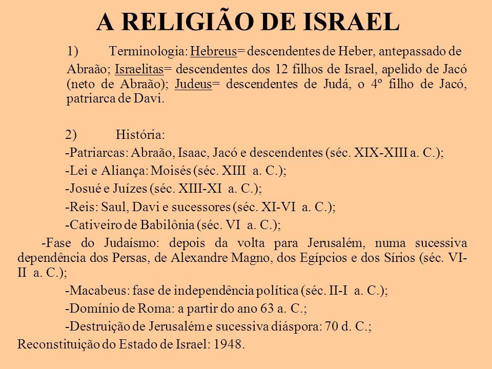 A RELIGIÃO DE ISRAEL 1) Terminologia: Hebreus= descendentes de Heber, antepassado de Abraão; Israelitas= descendentes dos 12 filhos de Israel, apelido