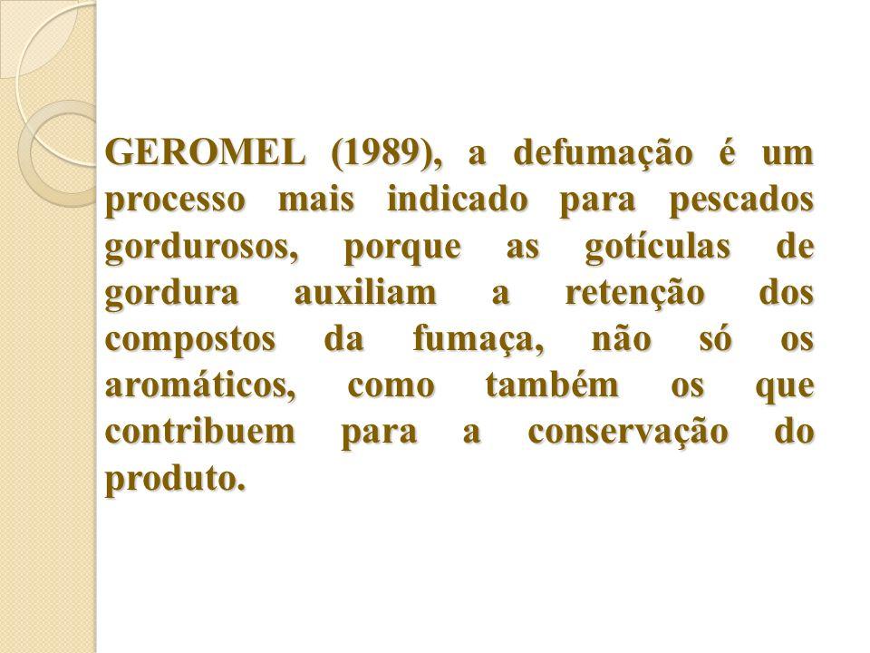 GEROMEL (1989), a defumação é um processo mais indicado para pescados gordurosos, porque as gotículas de gordura auxiliam a retenção dos compostos da