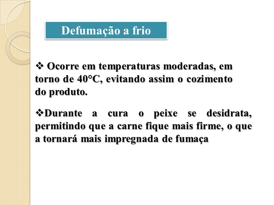 Defumação a frio Ocorre em temperaturas moderadas, em torno de 40°C, evitando assim o cozimento do produto. Ocorre em temperaturas moderadas, em torno