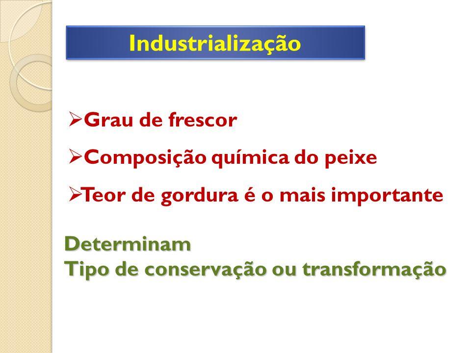 Industrialização Grau de frescor Composição química do peixe Teor de gordura é o mais importante Determinam Tipo de conservação ou transformação