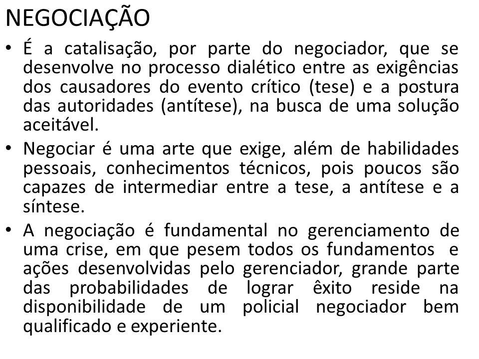 NEGOCIAÇÃO É a catalisação, por parte do negociador, que se desenvolve no processo dialético entre as exigências dos causadores do evento crítico (tes