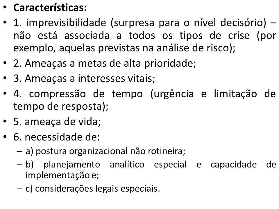 Características: 1. imprevisibilidade (surpresa para o nível decisório) – não está associada a todos os tipos de crise (por exemplo, aquelas previstas