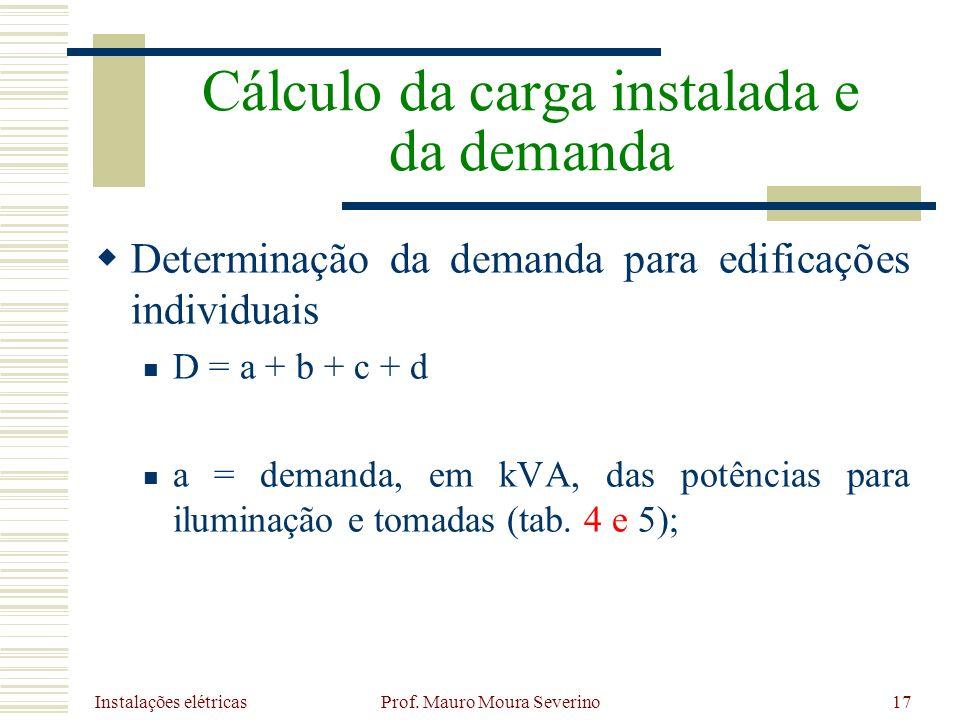 Instalações elétricas Prof. Mauro Moura Severino17 Determinação da demanda para edificações individuais D = a + b + c + d a = demanda, em kVA, das pot