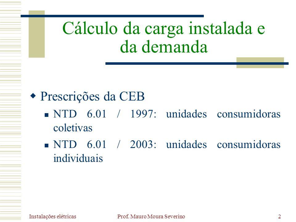 Instalações elétricas Prof. Mauro Moura Severino2 Prescrições da CEB NTD 6.01 / 1997: unidades consumidoras coletivas NTD 6.01 / 2003: unidades consum