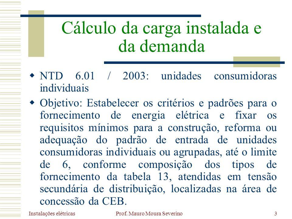 Instalações elétricas Prof. Mauro Moura Severino3 NTD 6.01 / 2003: unidades consumidoras individuais Objetivo: Estabelecer os critérios e padrões para