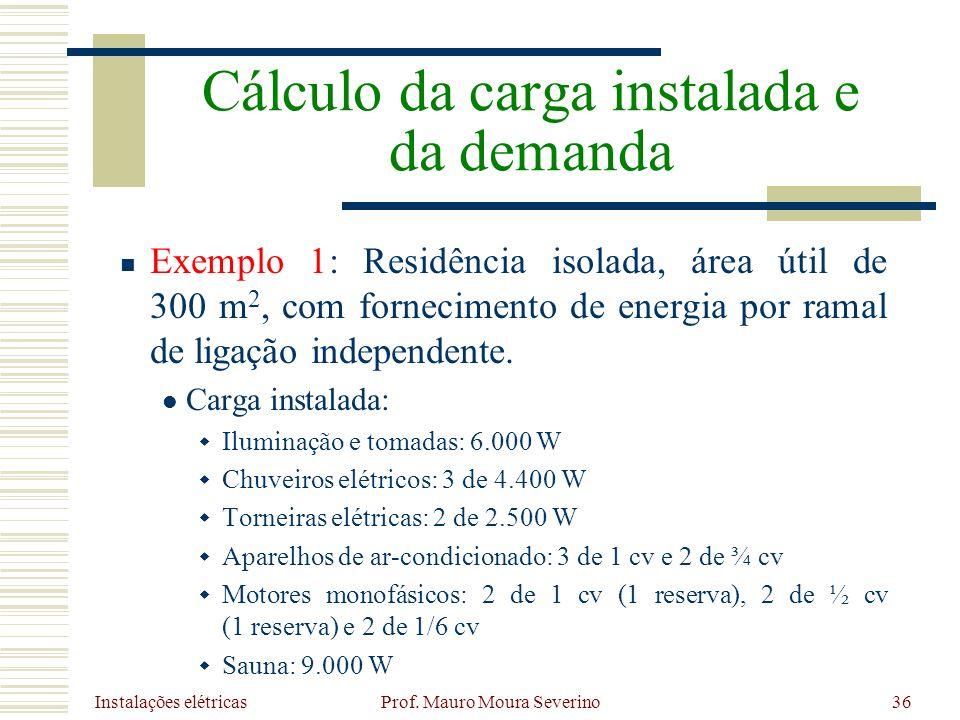 Instalações elétricas Prof. Mauro Moura Severino36 Exemplo 1: Residência isolada, área útil de 300 m 2, com fornecimento de energia por ramal de ligaç