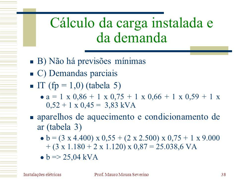 Instalações elétricas Prof. Mauro Moura Severino38 B) Não há previsões mínimas C) Demandas parciais IT (fp = 1,0) (tabela 5) a = 1 x 0,86 + 1 x 0,75 +