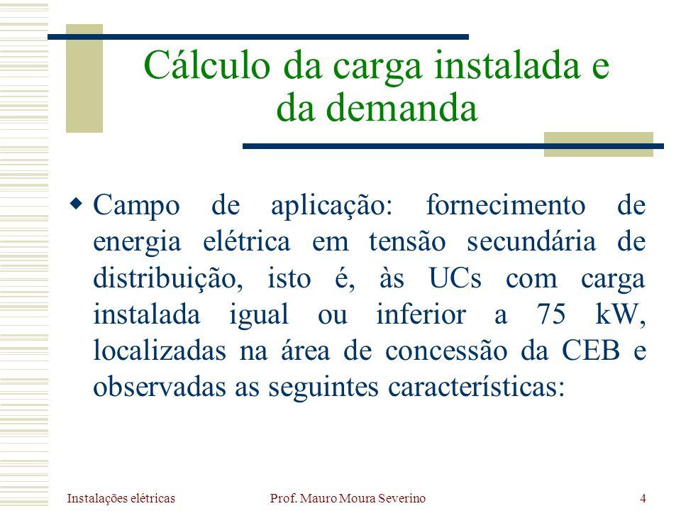 Instalações elétricas Prof. Mauro Moura Severino4 Campo de aplicação: fornecimento de energia elétrica em tensão secundária de distribuição, isto é, à