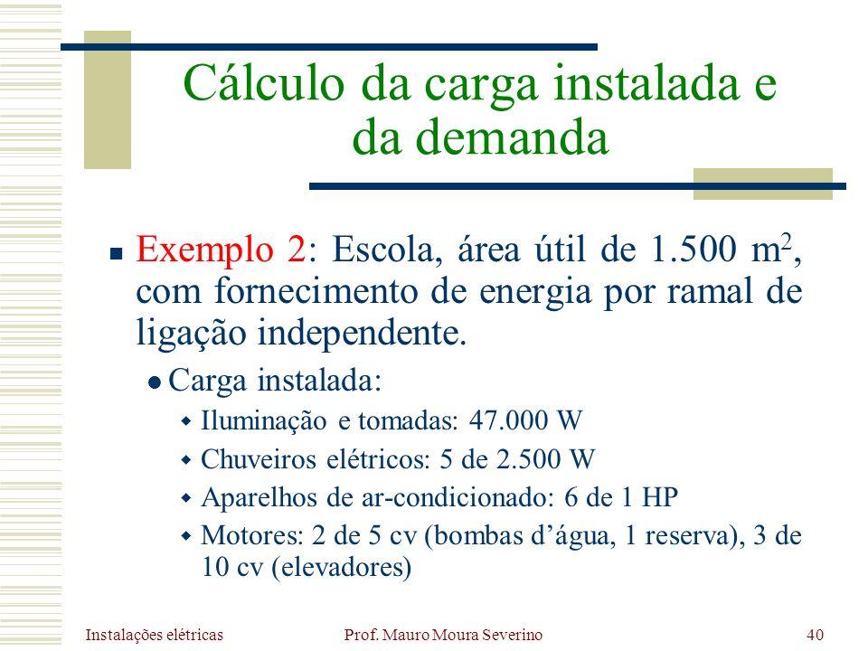 Instalações elétricas Prof. Mauro Moura Severino40 Exemplo 2: Escola, área útil de 1.500 m 2, com fornecimento de energia por ramal de ligação indepen