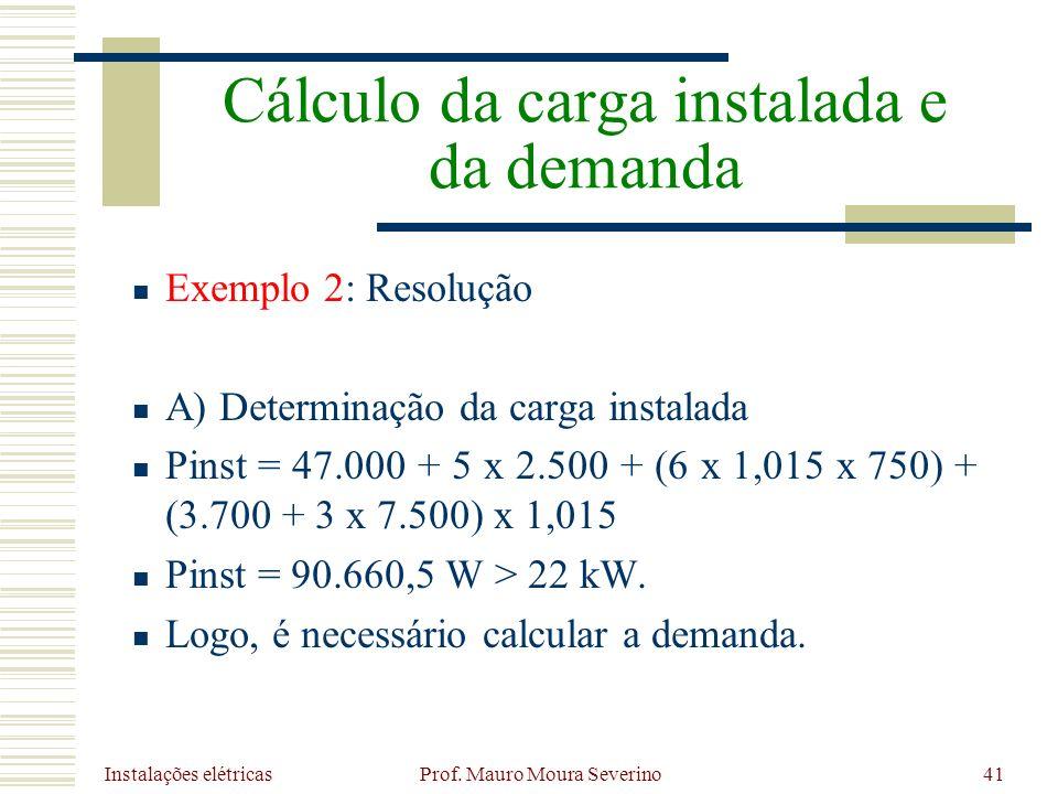 Instalações elétricas Prof. Mauro Moura Severino41 Exemplo 2: Resolução A) Determinação da carga instalada Pinst = 47.000 + 5 x 2.500 + (6 x 1,015 x 7