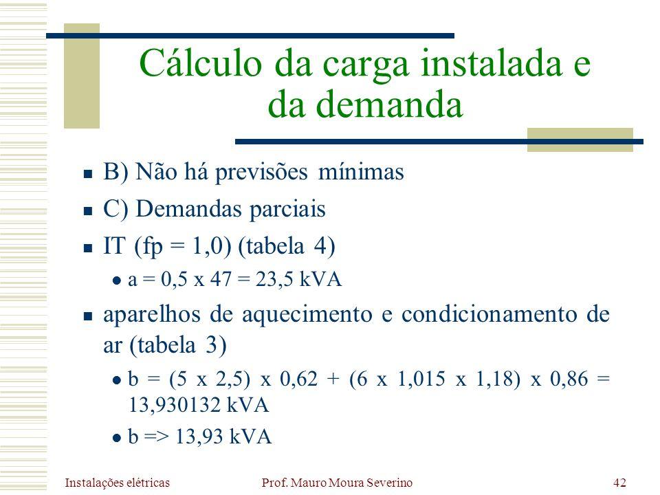 Instalações elétricas Prof. Mauro Moura Severino42 B) Não há previsões mínimas C) Demandas parciais IT (fp = 1,0) (tabela 4) a = 0,5 x 47 = 23,5 kVA a