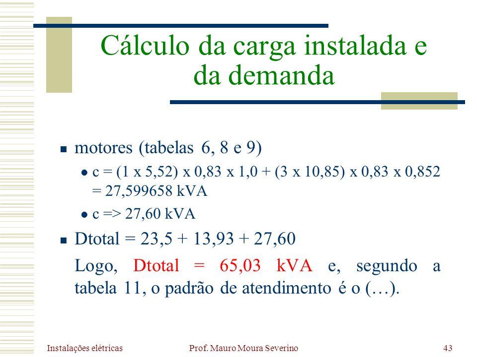 Instalações elétricas Prof. Mauro Moura Severino43 motores (tabelas 6, 8 e 9) c = (1 x 5,52) x 0,83 x 1,0 + (3 x 10,85) x 0,83 x 0,852 = 27,599658 kVA