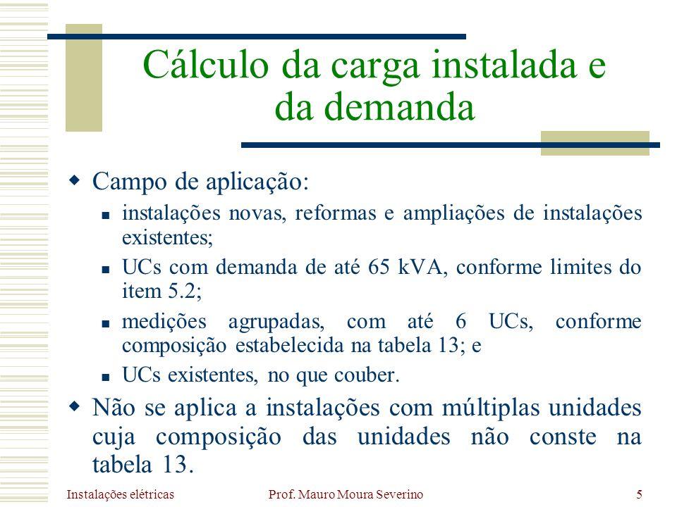 Instalações elétricas Prof. Mauro Moura Severino5 Campo de aplicação: instalações novas, reformas e ampliações de instalações existentes; UCs com dema