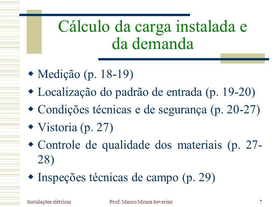 Instalações elétricas Prof. Mauro Moura Severino7 Medição (p. 18-19) Localização do padrão de entrada (p. 19-20) Condições técnicas e de segurança (p.
