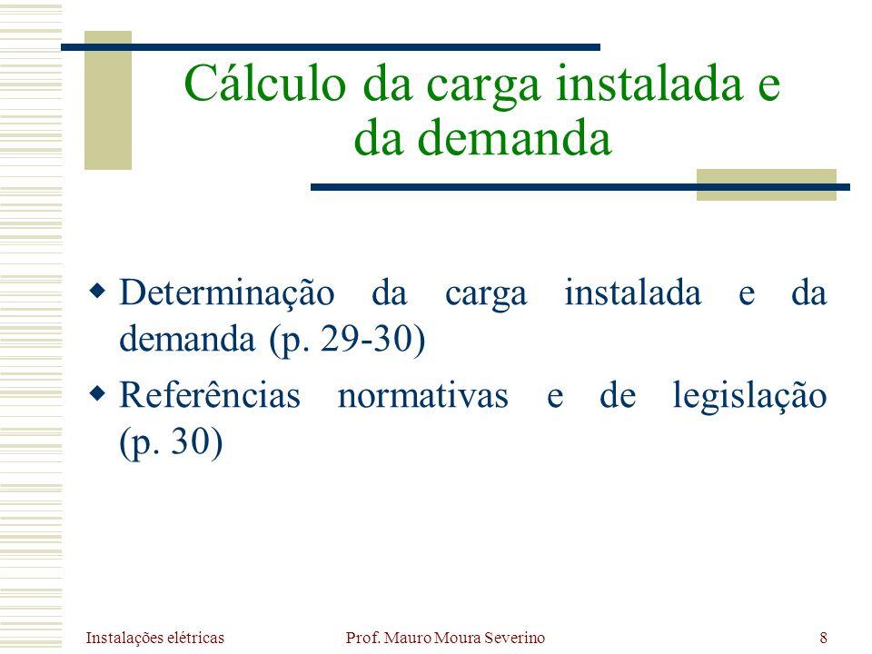 Instalações elétricas Prof. Mauro Moura Severino8 Determinação da carga instalada e da demanda (p. 29-30) Referências normativas e de legislação (p. 3