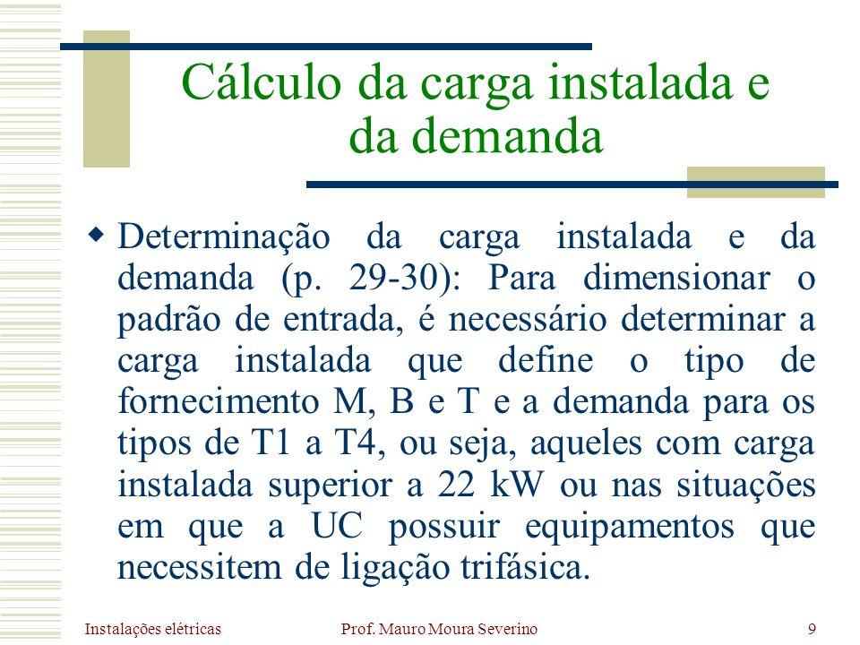 Instalações elétricas Prof. Mauro Moura Severino9 Determinação da carga instalada e da demanda (p. 29-30): Para dimensionar o padrão de entrada, é nec