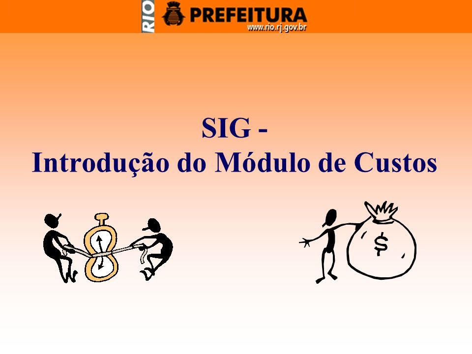 SIG - Introdução do Módulo de Custos