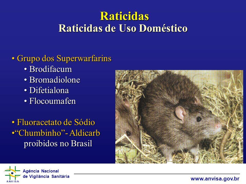 Agência Nacional de Vigilância Sanitária www.anvisa.gov.br Raticidas Raticidas de Uso Doméstico Raticidas Raticidas de Uso Doméstico Grupo dos Superwarfarins Grupo dos Superwarfarins Brodifacum Brodifacum Bromadiolone Bromadiolone Difetialona Difetialona Flocoumafen Flocoumafen Fluoracetato de Sódio Fluoracetato de Sódio Chumbinho- AldicarbChumbinho- Aldicarb proibidos no Brasil
