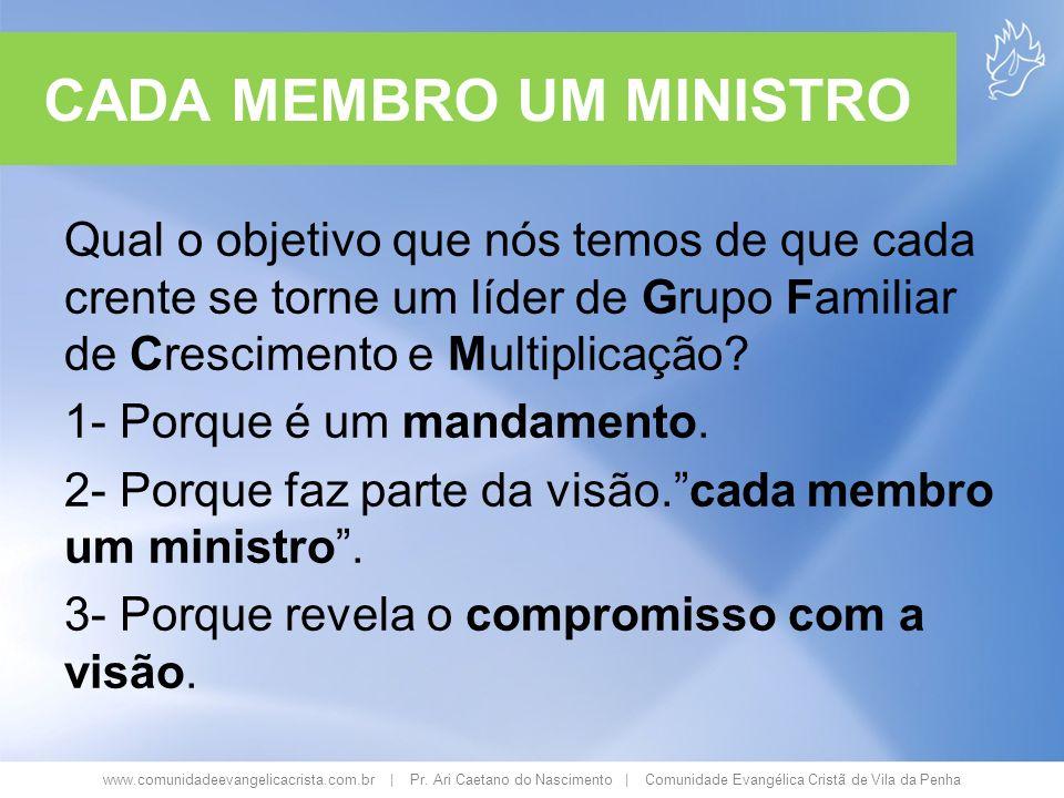 www.comunidadeevangelicacrista.com.br | Pr. Ari Caetano do Nascimento | Comunidade Evangélica Cristã de Vila da Penha CADA MEMBRO UM MINISTRO Qual o o