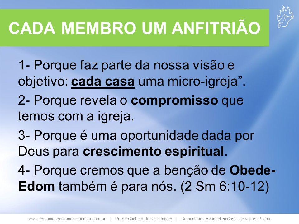 www.comunidadeevangelicacrista.com.br | Pr. Ari Caetano do Nascimento | Comunidade Evangélica Cristã de Vila da Penha CADA MEMBRO UM ANFITRIÃO 1- Porq