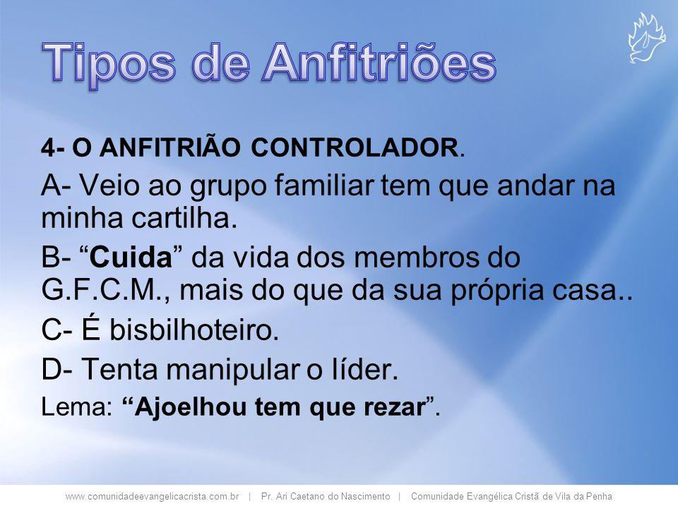 www.comunidadeevangelicacrista.com.br | Pr. Ari Caetano do Nascimento | Comunidade Evangélica Cristã de Vila da Penha 4- O ANFITRIÃO CONTROLADOR. A- V