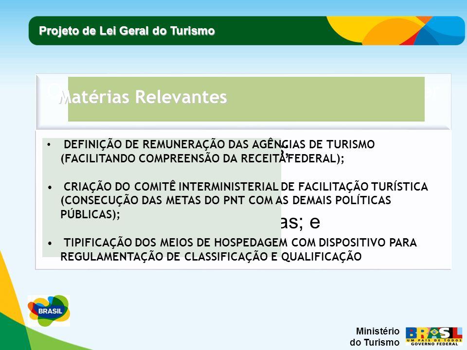Ministério do Turismo Projeto de Lei Geral do Turismo Matérias Relevantes DEFINIÇÃO DE REMUNERAÇÃO DAS AGÊNCIAS DE TURISMO (FACILITANDO COMPREENSÃO DA