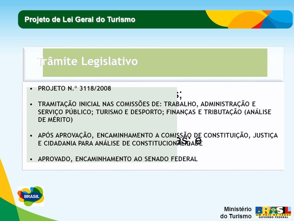 Ministério do Turismo Projeto de Lei Geral do Turismo Trâmite Legislativo PROJETO N.º 3118/2008 TRAMITAÇÃO INICIAL NAS COMISSÕES DE: TRABALHO, ADMINIS