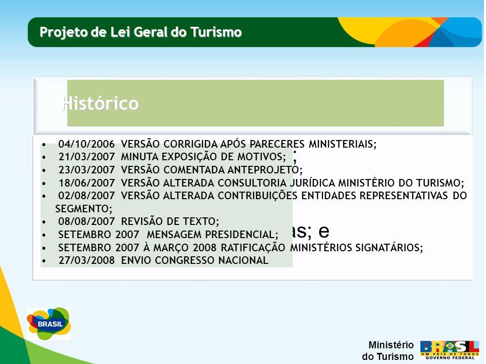 Ministério do Turismo Projeto de Lei Geral do Turismo Projeto de Lei Geral do Turismo Histórico 04/10/2006 VERSÃO CORRIGIDA APÓS PARECERES MINISTERIAIS; 21/03/2007 MINUTA EXPOSIÇÃO DE MOTIVOS; 23/03/2007 VERSÃO COMENTADA ANTEPROJETO; 18/06/2007 VERSÃO ALTERADA CONSULTORIA JURÍDICA MINISTÉRIO DO TURISMO; 02/08/2007 VERSÃO ALTERADA CONTRIBUIÇÕES ENTIDADES REPRESENTATIVAS DO SEGMENTO; 08/08/2007 REVISÃO DE TEXTO; SETEMBRO 2007 MENSAGEM PRESIDENCIAL; SETEMBRO 2007 À MARÇO 2008 RATIFICAÇÃO MINISTÉRIOS SIGNATÁRIOS; 27/03/2008 ENVIO CONGRESSO NACIONAL