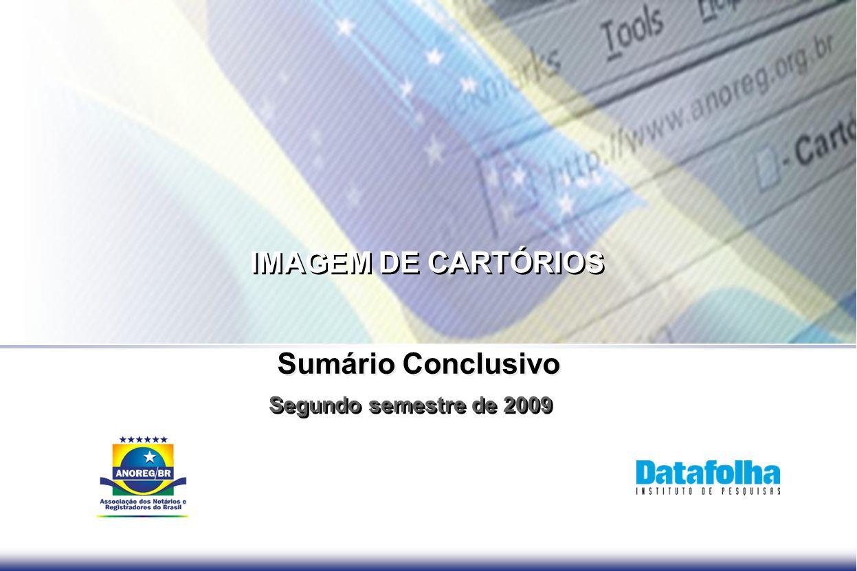 IMAGEM DE CARTÓRIOS Segundo semestre de 2009 Sumário Conclusivo