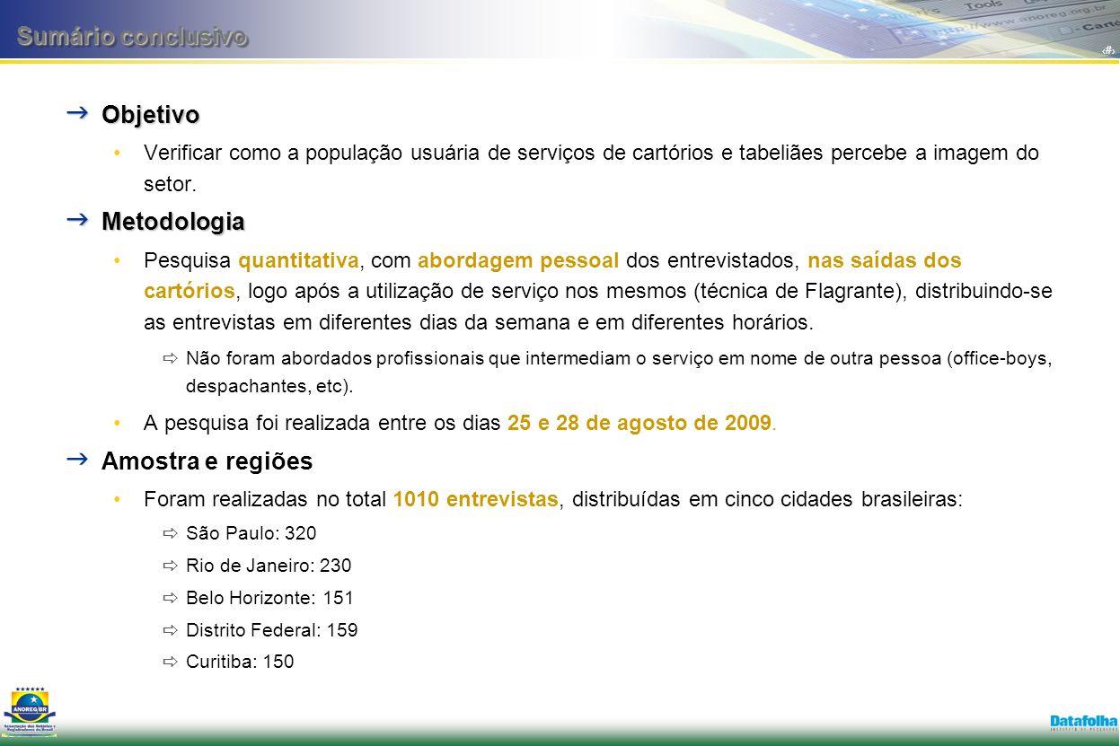 2 Objetivo Objetivo Verificar como a população usuária de serviços de cartórios e tabeliães percebe a imagem do setor.