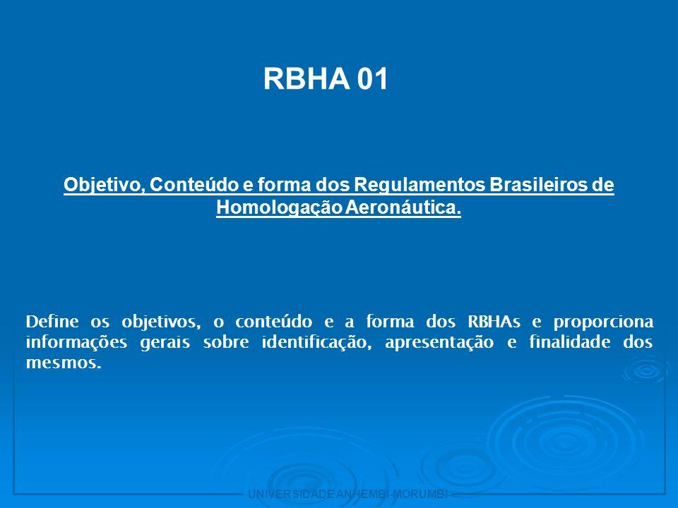 UNIVERSIDADE ANHEMBI-MORUMBI 3 RBHA 11 Procedimentos e regras gerais para a elaboração de regras e emendas dos RBHAs.