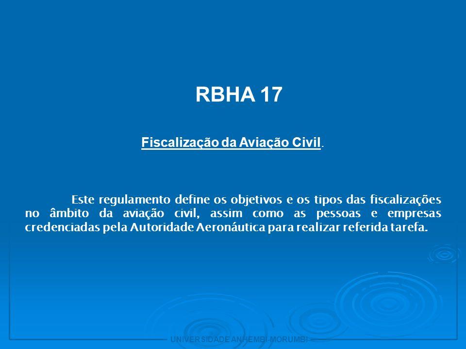 UNIVERSIDADE ANHEMBI-MORUMBI 5 - RBHA 21 Procedimentos de homologação para produtos e partes aeronáuticas.