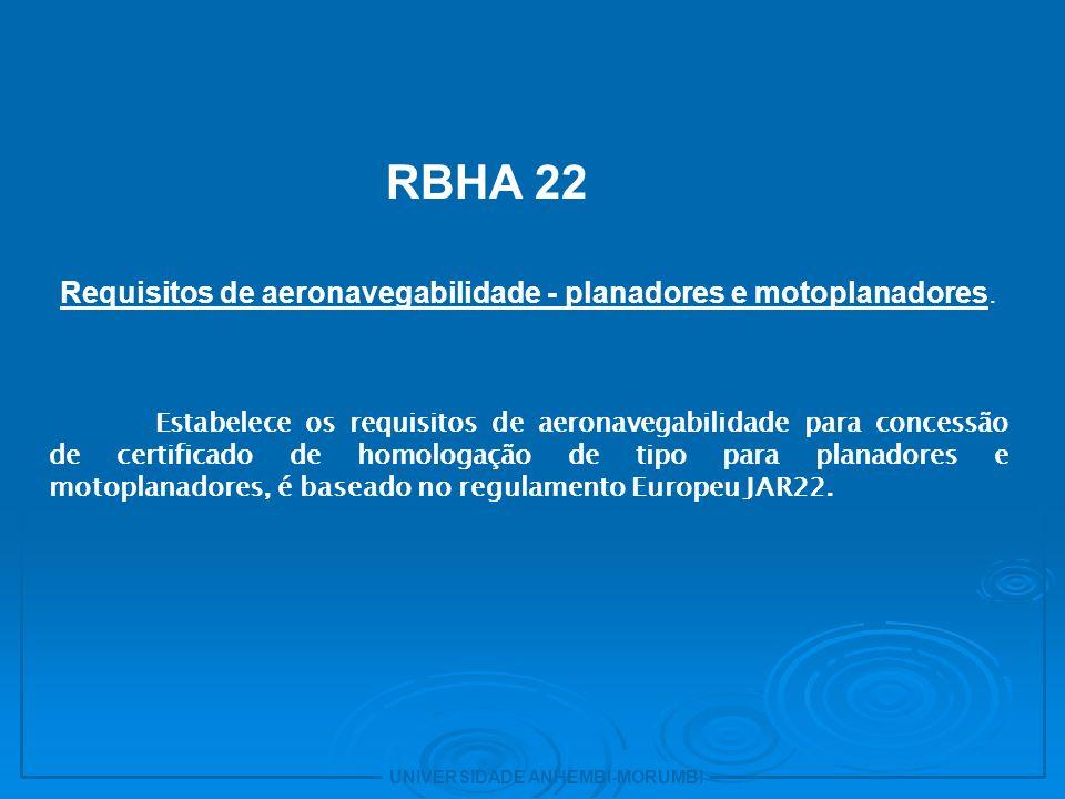 UNIVERSIDADE ANHEMBI-MORUMBI 7 RBHA 23 Requisitos de aeronavegabilidade - aviões categorias normal, utilidade, acrobática e transporte regional.
