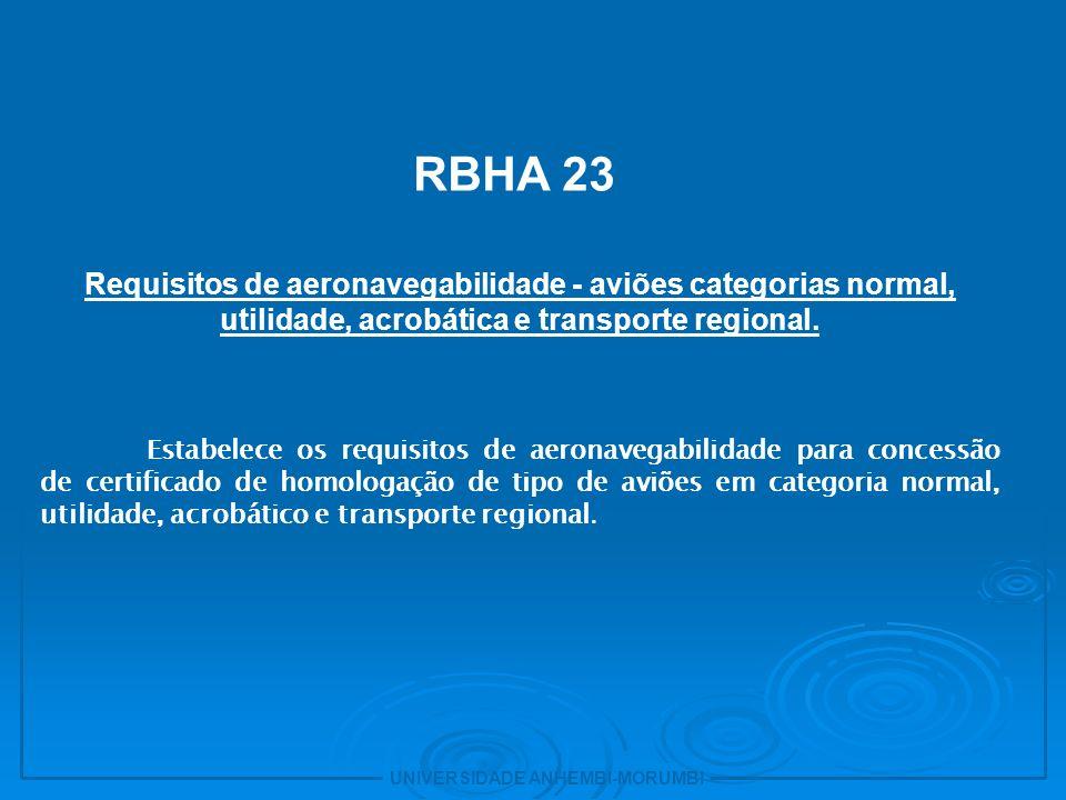 UNIVERSIDADE ANHEMBI-MORUMBI 8 - RBHA 25 Requisitos de aeronavegabilidade - aviões categoria transporte.