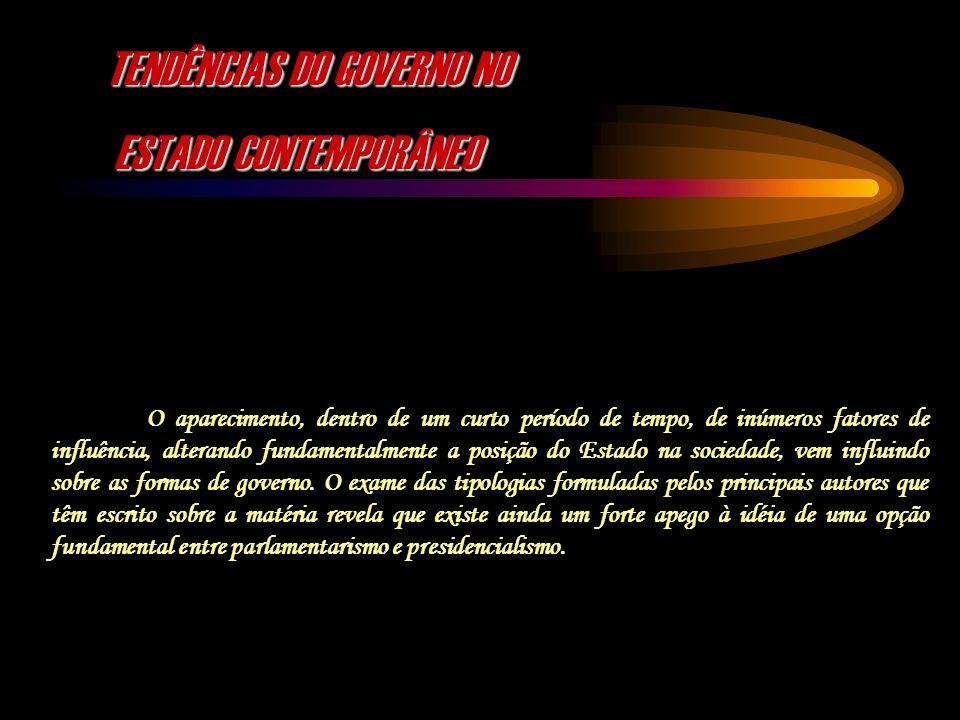 TENDÊNCIAS DO GOVERNO NO ESTADO CONTEMPORÂNEO ESTADO CONTEMPORÂNEO O aparecimento, dentro de um curto período de tempo, de inúmeros fatores de influên