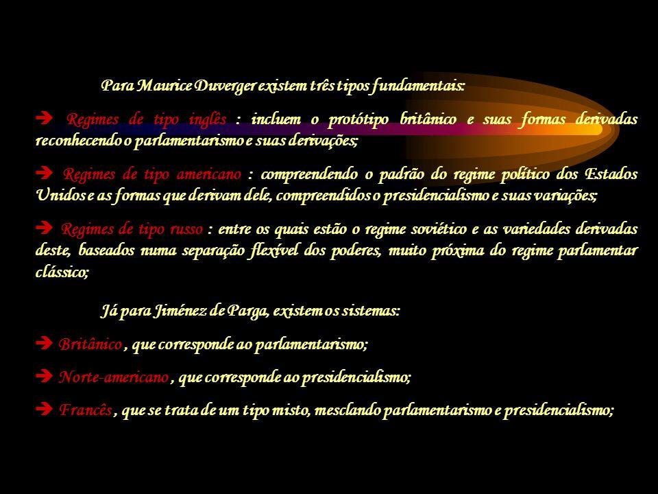 Já para Jiménez de Parga, existem os sistemas: Britânico, que corresponde ao parlamentarismo; Norte-americano, que corresponde ao presidencialismo; Fr