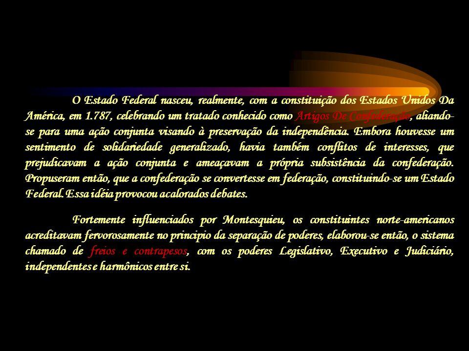 O Estado Federal nasceu, realmente, com a constituição dos Estados Unidos Da América, em 1.787, celebrando um tratado conhecido como Artigos De Confed