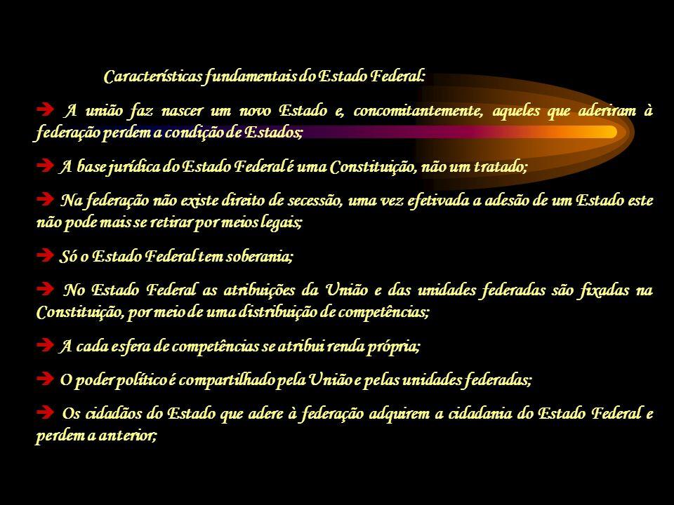 Características fundamentais do Estado Federal: A união faz nascer um novo Estado e, concomitantemente, aqueles que aderiram à federação perdem a cond