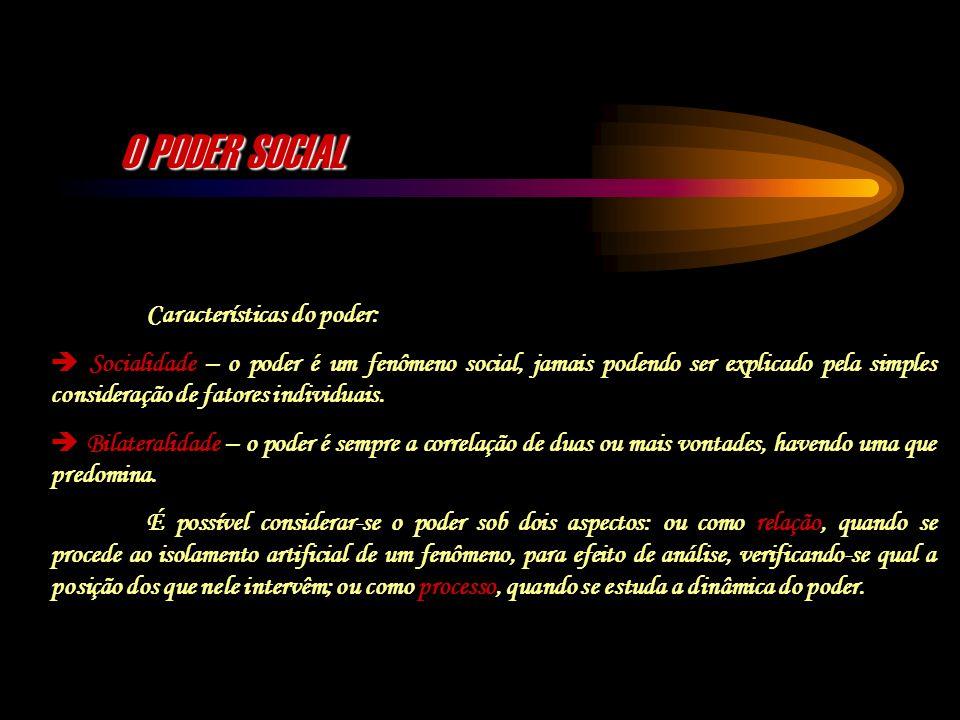 O PODER SOCIAL Características do poder: Socialidade – o poder é um fenômeno social, jamais podendo ser explicado pela simples consideração de fatores