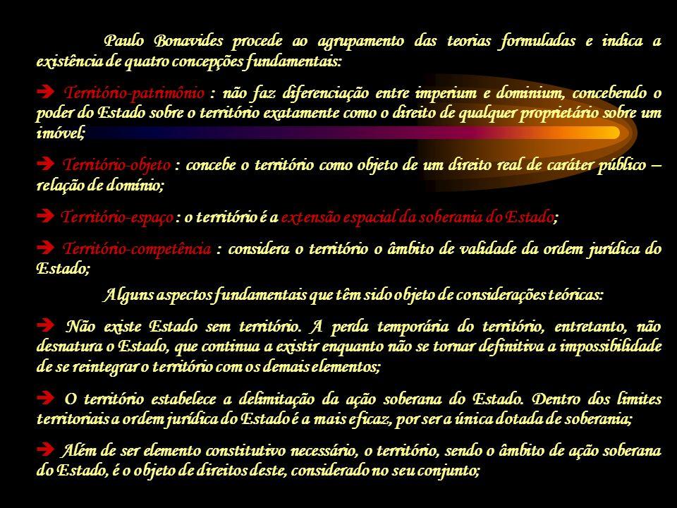 Paulo Bonavides procede ao agrupamento das teorias formuladas e indica a existência de quatro concepções fundamentais: Território-patrimônio : não faz
